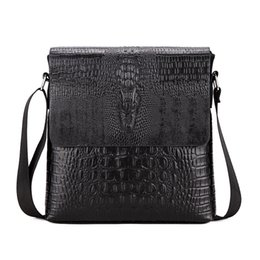 Vintage krokodil-taschen online-Krokodil Muster Männer Tasche Business Männer Messenger Bags Vintage Umhängetasche Pu-Leder Männliche Schultertasche Mann Handtasche WBS420