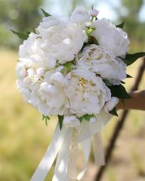 Wholesale vintage artificial wedding bouquets - JaneVini Vintage White Peony Bridal Bouquet 2018 Artificial Wedding Bouquet Wedding Photography Holding Flowers Lace Handle Ramo De Novia