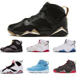Zapatos de baloncesto n7 online-Barato 7 zapatos de baloncesto para hombres 7s Sweate Purple UNC Burdeos Olímpico Panton Dinero puro Nada Raptor N7 Zapatos Trainer Sport Zapatilla de deporte