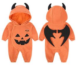 Argentina Disfraz de Halloween Baby Costume Wear calabaza con capucha Jumpsuit Halloween Decoración bebé Pure Cotton Lovely Romper ropa 3-24monsths Suministro
