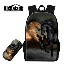 Wholesale Horse School Backpacks - Cute Animal Horse Print School Backpack Bags And Pencil Pouch Box Holder 2 Piece Set For Junior High School ChildrenBoys College Men Mochila