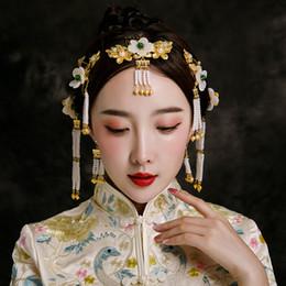 7e2bd6c7d2f5 Handmade Sposa Step Shake Ancient Chinese Wedding Show Wo Accessori per  capelli Set di gioielli in rilievo Nappa Forcine Copricapo Copricapo sconti  i monili ...