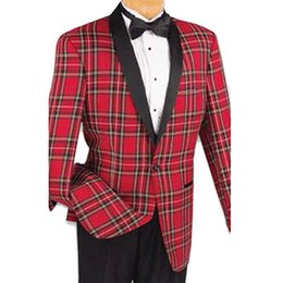 Wholesale Red Plaid Tuxedo Jacket - Red Plaid Jacket Men Suits Black Shawl Lapel Two Piece One Button Custom Made Wedding Groom Tuxedos 2018 Black Pants