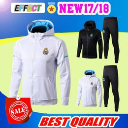 Wholesale full hoodies - 2018 real madrid hoodie black white jacket with caps 2017 2018 tracksuit Soccer Jersey 17 18 training suit