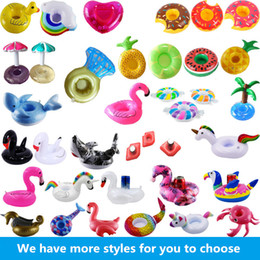 Wholesale toy inflatable float - Inflatable Flamingo Unicorn Drinks Cup Holder Pool Floats Bar Coasters Floatation Devices Children Bath Toy