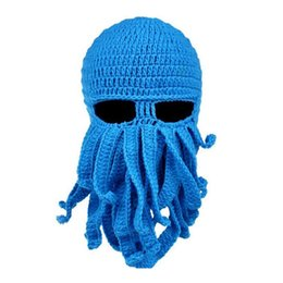 Wholesale Knitting Octopus - Unisex Octopus Knitted Wool Ski Face Masks Event Party Halloween Knitted Hat Squid Cap Beanie Cool Gifts Mask (Blue)