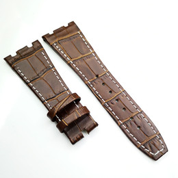 leather strap stitched Promo Codes - 26mm  18mm Brown White Stitch luxury high quality Calf Leather Strap for AP AudemarsPiguet Royal Oak