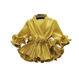 Blusas arrumadas com mulheres on-line-2018 primavera e verão nova fêmea Profundo decote em V babados lace up chiffon camisa das mulheres de três quartos manga camisas blusas