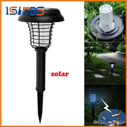 Wholesale Solar Mosquito Killer Lamp - LED Solar Powered Outdoor Yard Garden Lawn Anti Mosquito Insect Pest Bug Zapper Killer Trapping Lantern Lamp Light with spike Solar Lamps