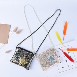 Wholesale Star Gift Bags - Girls Small Sequins Coin Purse Change Wallet Kids Bag Coin Pouch Children Star Wallet Money Holder Kids Gift OOA4056