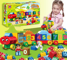Wholesale Educational Toys Blocks - Building Blocks Plastic Digital Box 50 digital train car building blocks toys Children's Educational Intelligence Toys Safe Environmental