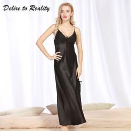 5bf45e1b9 Longas Mulheres Verão Noite Vestido Plus Size Sexy Lace Camisola De Cetim  De Seda Camisola Night Gown Nightwear CQ311 camisolas de seda saída