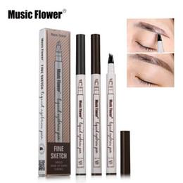 Wholesale pencil flower - 3 Colors Double Head Eyebrow Enhancer Music Flower Liquid Eyebrow Pen Music Flower Waterproof Eyebrow Enhancer CCA9615 120pcs