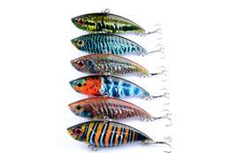 Comercio al por mayor 6 Unids vibración 6.5 CM 10.6G ABS Señuelo de la pesca VIB cebo de Plástico cuchara de pescado señuelos equilibrio 8 # ganchos azul rojo 3d ojos desde fabricantes