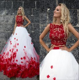 Wholesale Jewel Evening Top - 2018 Red White Two Pieces 3D Floral A Line Prom Dresses Lace Top Tulle Applique Floor Length Formal Party Evening Dresses