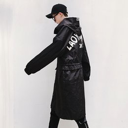 Wholesale Trench Style Dresses - Wholesale- New Men Loose men's windbreaker trench Coat Punk Style Long Jacket Casual Sweatshirts Hip-Hop Dress Tops Youth Blazer Best