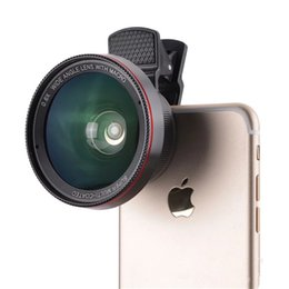 Wholesale Super Wide Lens Clip - HD Camera Lens 2 in1 Professional 0.6X Super Wide Angle Lens 15X Macro Lens Universal Clip-On Cell Phone Len for iPhone Samsung