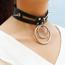 Wholesale metal slave collars - Sexy Rivet Leather Choker Necklaces big metal Circle Slave Harness BDSM Collar Necklace Sex Toys For Couple Adult Sex Games