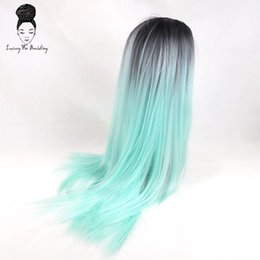 "Wholesale Cosplay Grey Hair - Synthetic Hair Wigs Luxury For Braiding 28"" Mint Green Burgundy Blonde Brown Grey Ombre Straight Heat Resistant Synthetic Cosplay Party Wigs"