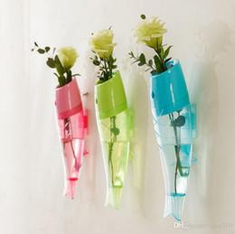 vases en bois Promotion Poisson créatif en forme de fleur mur vase fixé au mur Amovible Transparent En Plastique Fleur vase pour la décoration de la maison décoration de jardin ornement IC630