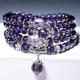 Wholesale crystal mala - Bracelets Bangles For Unisex Women Men Buddhist Prayer Amethyst Crystal Natural Stone Bracelet Necklace Strands Charms Mala Beads Bracelets