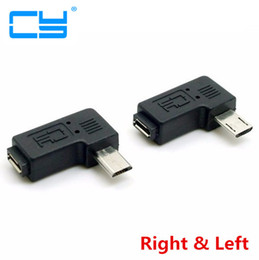 Wholesale f plug adapter - Micro USB 2.0 5Pin Male to Female M to F Extension connector Adapter 9mm Long plug Connector 90 Degree Right & Left Angled