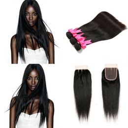Wholesale Top Closures For Weaves - Top 4x4 Lace Closure With 3 Bundles Straight Hair for Black Women Unprocessed 100% Brazilian Natural Human Hair Weave Cheap Hair Extensions