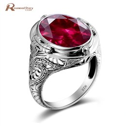 Настоящие рубины онлайн-Genuine Unique Austrian 925 Sterling Silver Ring with Ruby Stones for Men Vintage Crystal Fashion Luxury Women Party Jewelry Y1892607