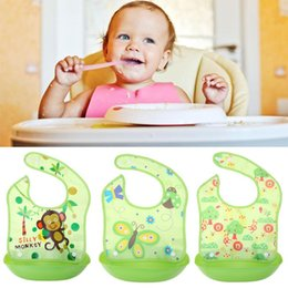 silicone pocket bibs Promo Codes - Baby Silicone Bibs Cartoon Meals Pocket Bib Boys Girls Waterproof Removable Feeding Rice Kids Bib Newborn Feeding Apron
