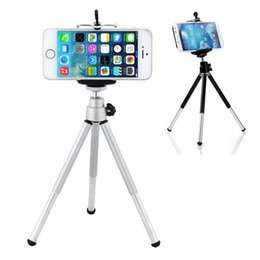 Wholesale universal cell phone tripod - Phone holder Mini 360 degree Rotatable Stand Tripod Mount + Phone Holder For iPhone Samsung HTC cell phone holder