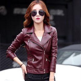 Wholesale Ladies Black Leather Coats - 2018 New Spring Short Paragraph Leather Jacket Ladies Locomotive Black Small Leather Jacket Women Red Coat Female Outerwear