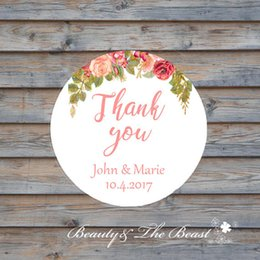 Wholesale Sticker Wedding - Wedding Thank You Sticker,Cupcake Toppers,Wedding Favors Tags ,Candy Box Tags CUSTOM Wedding Bottle Sticker Birthday Party