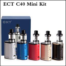 Wholesale cigarette refills - Authentic ECT C40 mini 40W e cigarette Box Mod Starter Kit built in1800mah vape mod 2.0ml top refilling ECT Elfin tank