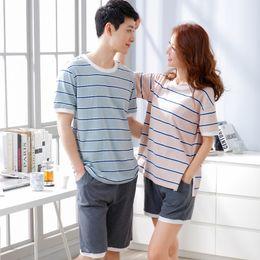 Wholesale Xxl Pajamas Men - Cotton Short Sleeve O-neck Pajama For Men Spring Summer Men Pajamas Set Women Tracksuit Couple Striped Sleepwear Homewear M-XXL