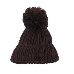 Wholesale cuffed knit beanies - Women Winter Slouch Knit Cap Warm Oversized Cuffed Beanie Crochet Ski Bobble Hat -MX8