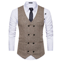 waistcoats v neck for suit Coupons - Mens Old School 8 Buttons Herringbone Vests For Male Slim Fit Mans Suit Sleeveless Vest Formal Waistcoat for Suit or Tuxedo