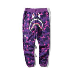 Wholesale male personality - New Teenager Hip Hop Personality Shark Mouth Camouflage Printing Casual Pants Male Hip Hop Foot Sport Sweatpants Cargo Pants for Track