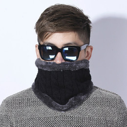 Wholesale Crochet Loops - [Dexing] Unisex Winter Knitted Scarves gaiter Plus Cotton Wool Collar scarf Warmer Woman Crochet Ring Men Loop neck Scarf