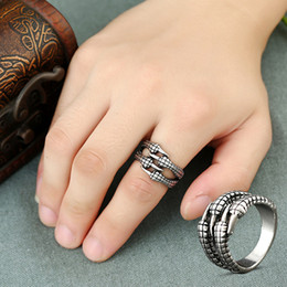 Wholesale Eagle Claw Rings - 1PC Hot Punk Silver Men Rings Ttanium Steel Eagle Claw Resizable Personality Rocking Jewelry Gift