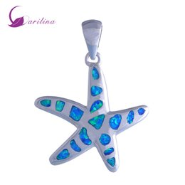 Wholesale fire stones - New Statement Jewelry sea star 925 sterling silver Fashion Jewelry Blue Fire Opal pendant for women P192