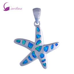 Wholesale sterling silver fire opal jewelry - New Statement Jewelry sea star 925 sterling silver Fashion Jewelry Blue Fire Opal pendant for women P192