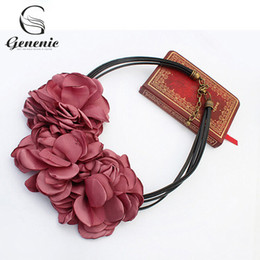 Wholesale Statement Pieces Wholesale - 1 Piece New Cute Fashion Bohemian Fabric Rose Flower Choker Necklace Women Statement Necklace Vintage Nice Gift