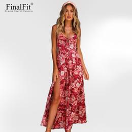 Wholesale Cross Back Maxi - FinalFit Strap Maxi Bandge Dress Floral Print Cross Back Thigh Split Backless Summer Cusual Long Beach Women Dress