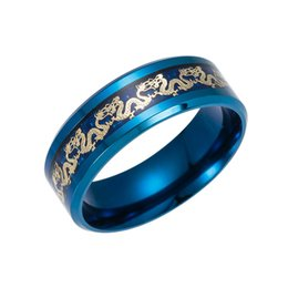 Wholesale Celtic Dragon Wedding Rings - Black Stainless steel Ring Mens Chinese Traditional Gold Dragon Inlay with Blue Ring Fashion wholesale Jewelry