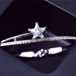 Wholesale Korea Set Girl - Korea Style New Arrival Pave Setting Crystal Five-pointed Star Silver Gold Plated Bangle Cuff Bracelet for Girls Ladies Women Love