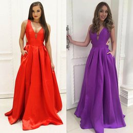 Wholesale Elegant Dressess - Sexy Prom Dressess Red Purple Deep V Neck Cutaway Sides Satin Backless Evening Party Gowns Elegant Celebrity Formal Wear MP191