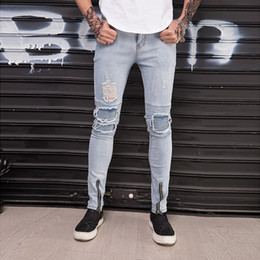 Wholesale Joker Trousers - New 2018 men's trousers teenagers han edition men's jeans fashion cultivate morality joker hole elastic trousers