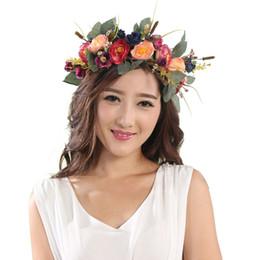 Wholesale Wreath Summer - 2017 Summer Flower Wreath Women Head Crown Girl's Floral Hair Accessory