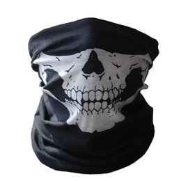 Wholesale Sport Paintball - Hot Black Skull Mask Bandana Bike Motorcycle Helmet Neck Face Mask Half Face Paintball Ski Sport Headband Military Game Masks