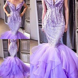 vestidos de fiesta suaves lavanda Rebajas Ligth Lavender 2018 Vestidos de baile Lentejuelas Granos Apliques Off Hombro Fluffy Tren Tulle personalizado sirena saudita vestidos de noche